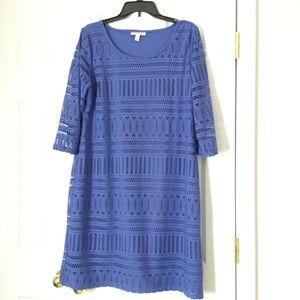 Dana Buchman Blue Lace Dress sz Large, one flaw